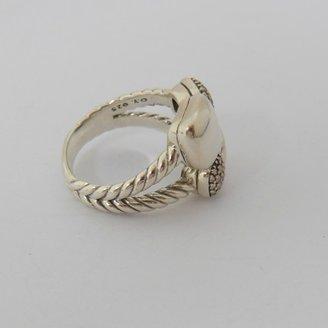 David Yurman excellent (EX Sterling Silver .31tcw Large Pave Diamond Black Rhodium Mosaic Ring - Size 9