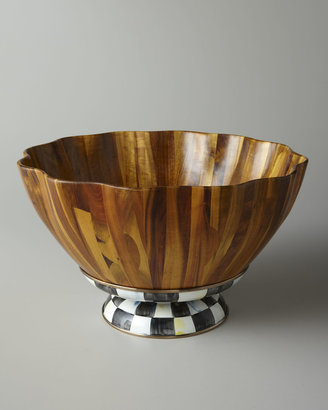 Mackenzie Childs MacKenzie-Childs Courtly Check Fluted Wooden Salad Bowl