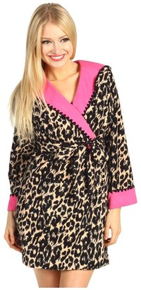 Betsey Johnson Double Faced Microfleece Robe w/ Hood (Shawdow Cat Heartbreaker) - Apparel