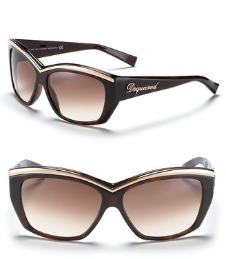 DSquared DSQUARED2 Plastic Rectangular Sunglasses with Metal Brow Bar