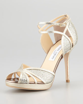 Jimmy Choo Fayme Glitter Platform Sandal