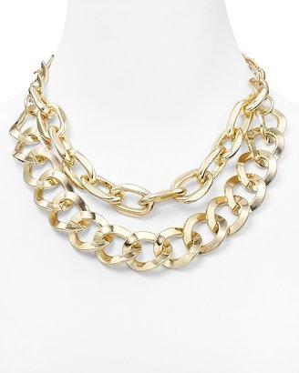 "Aqua Thick Double Chain Necklace, 16"""
