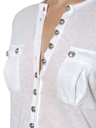 Balmain Cotton And Linen Jersey T-Shirt