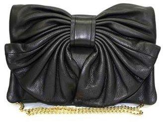 "Valentino FQB00029"" Black Leather Clutch/Shoulder Bag"