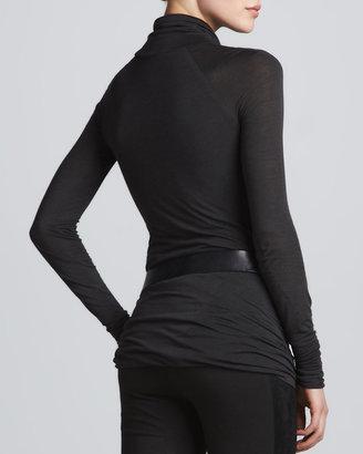 Donna Karan Draped Long-Sleeve Turtleneck, Gunmetal