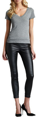 Blank Faux-Leather Leggings, Black Bean