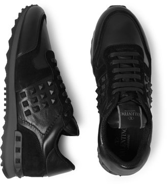 Valentino Studded Suede and Leather Sneakers