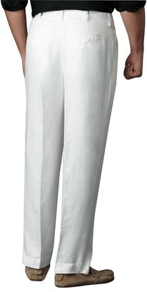 Centro herringbone pleated linen suit pants
