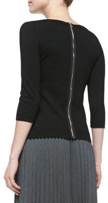 Milly Merino 3/4-Sleeve Zip-Back Sweater