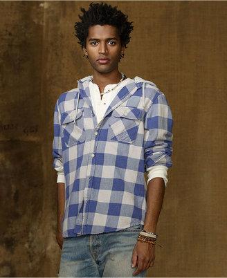Denim & Supply Ralph Lauren Shirt, Fleece Hooded Plaid Shirt
