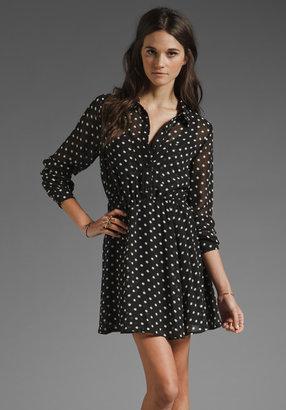 MinkPink Stare Why Don't You Chiffon Long Sleeve Shirt-Dress in Black/Cream