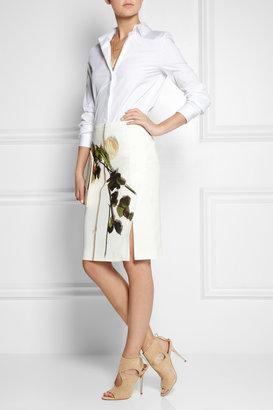 No.21 No. 21 Rose-print crepe pencil skirt