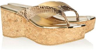Jimmy Choo Pathos snake-print leather and cork sandals