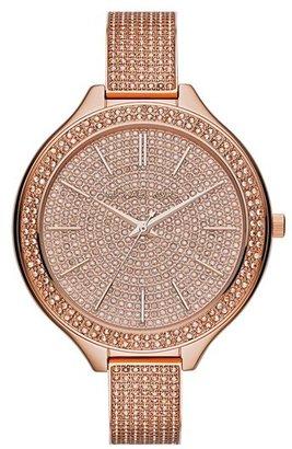 MICHAEL Michael Kors Michael Kors 'Slim Runway' Pavé Crystal Bangle Watch, 43mm