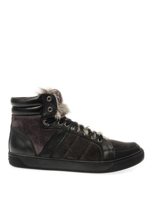 Moncler New Bordeaux suede and fur trainers