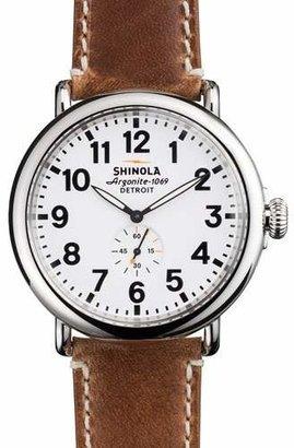 Shinola 47mm Runwell Men's Watch, White/Brown $550 thestylecure.com