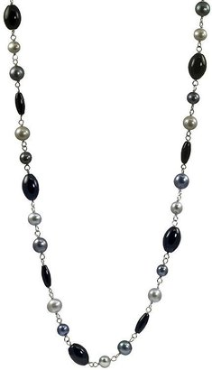 Sterling silver freshwater cultured pearl & onyx necklace