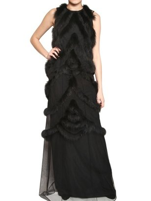 Viktor & Rolf Fox Trim On Techno Tulle Long Dress