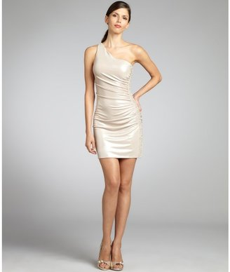 Laundry by Shelli Segal buff and silver metallic stretch jersey one shoulder beaded side dress