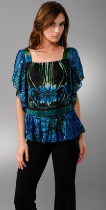 Anna Sui Ombre Peacock Feathers Blouse