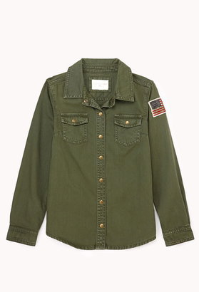 FOREVER 21 girls Girls-In-Charge Military Shirt (Kids)