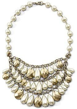 JCPenney Mixit® Bib Necklace, Cream Gold Pearl