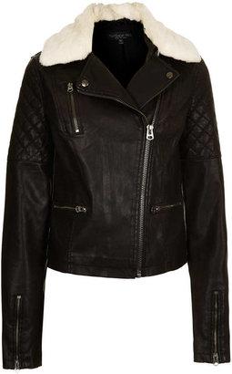 Topshop Tall Quilt Panel Fur Collar Jacket