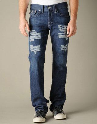True Religion Mens Hand Picked Indigo Bandana Straight Jean