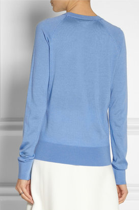 Reed Krakoff Leather-paneled cashmere, wool and silk-blend sweater