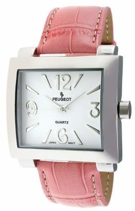 Peugeot Women's 706PK Silver-Tone Leather Strap Watch