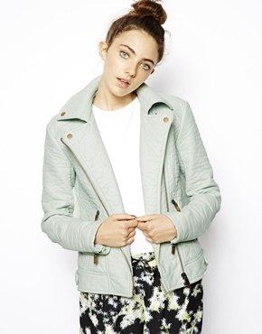 Asos Textured Biker Jacket - Mint