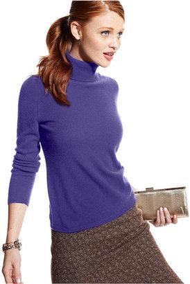 Charter Club Petite Sweater, Long-Sleeve Cashmere Turtleneck