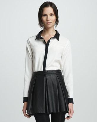 PJK Tartan Pleated Leather Skirt