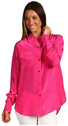 Juicy Couture Oversized L/S Silk Blouse (Watermelon Pop) - Apparel