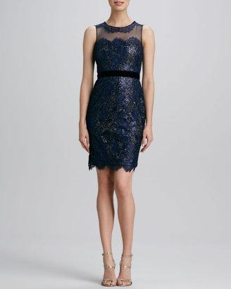 Notte by Marchesa Lace Ribbon-Waist Cocktail Dress