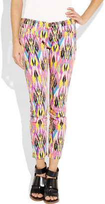 Current/Elliott The Stiletto cropped mid-rise printed skinny jeans