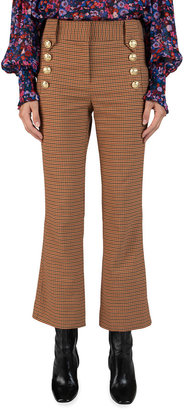 Derek Lam 10 Crosby Corinna Cropped Check Flare Pants with Sailor Buttons
