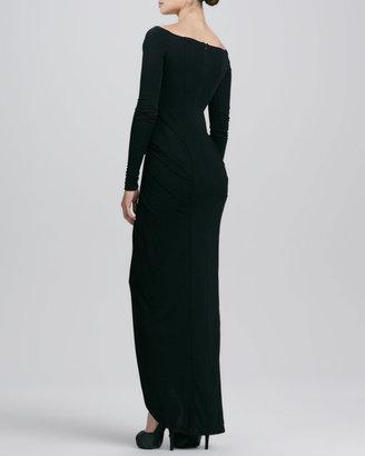 Catherine Malandrino V-Neck Long-Sleeve Jersey Gown