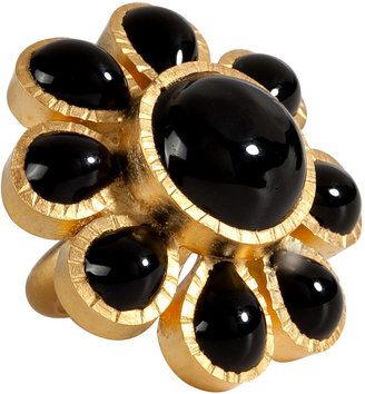 Gripoix Gold-Plated Ring with Black Glass Stones