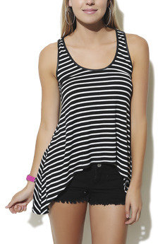 Wet Seal WetSeal Stripe High-Low Tank Red