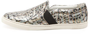 Lanvin Metallic Jacquard Slip-On Sneaker, Multicolor