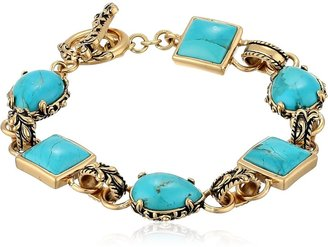 Barse Jubilee Bronze and Turquoise Toggle Bracelet 8""