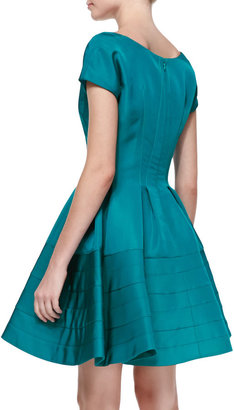 Zac Posen Short-Sleeve Fit-and-Flare Dress