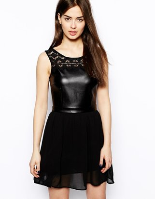 Glamorous Skater Dress With Leather Look Top - Black