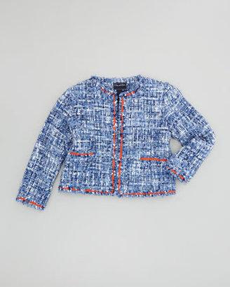 Oscar de la Renta Girls' Classic Tweed Jacket, Blue