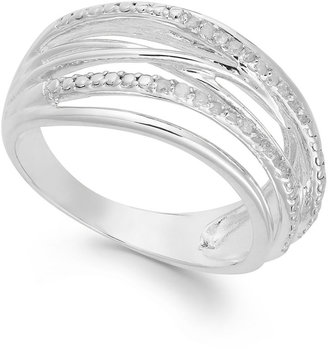Townsend Victoria Diamond Crossover Ring in Sterling Silver (1/10 ct. t.w.)