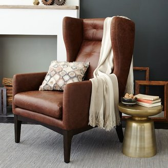 west elm James Harrison Wing Chair - Leather