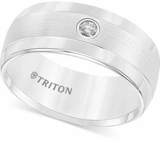 Triton Men Diamond Wedding Band in White Tungsten Carbide (1/10 ct. t.w.)