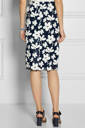 Marni Floral-print gauze pencil skirt