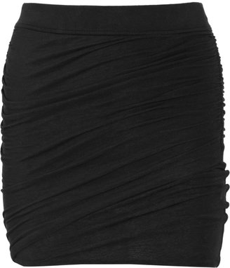 James Perse Ruched stretch cotton-jersey mini skirt